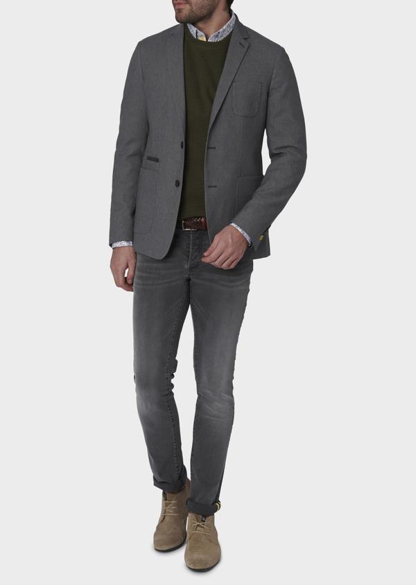 Veste casual Regular en coton façonné gris foncé - Father and Sons 7230