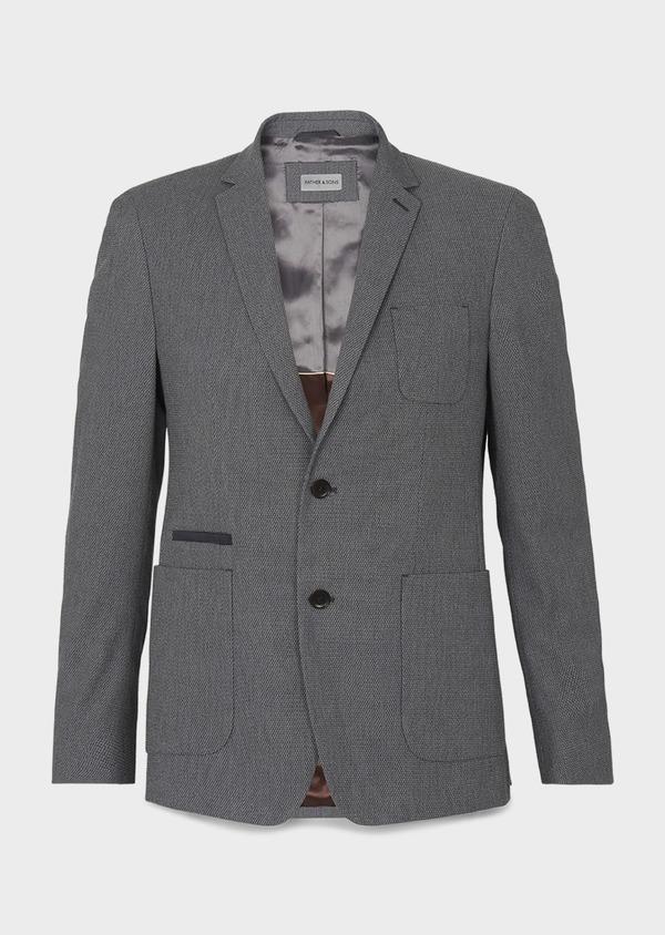 Veste casual Regular en coton façonné gris foncé - Father and Sons 7228