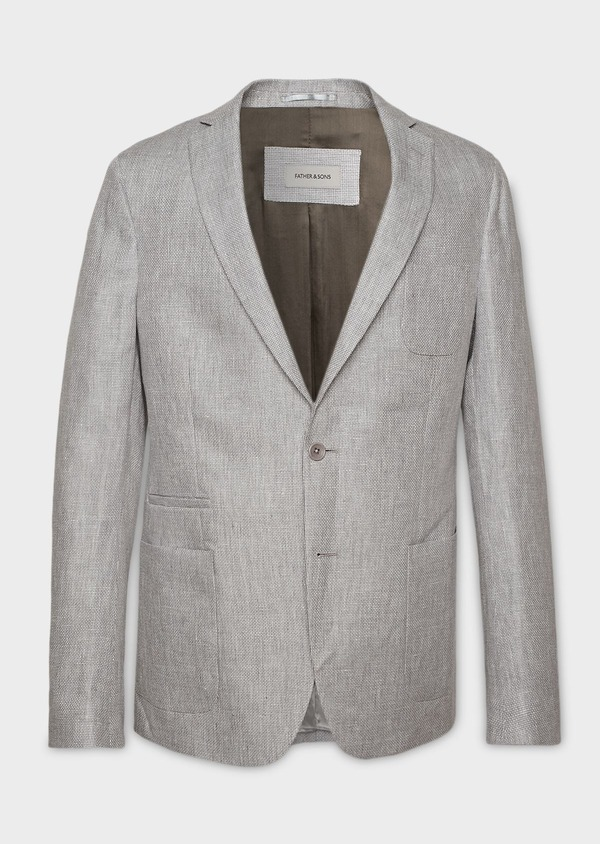 Veste casual Regular en lin gris clair - Father and Sons 7198