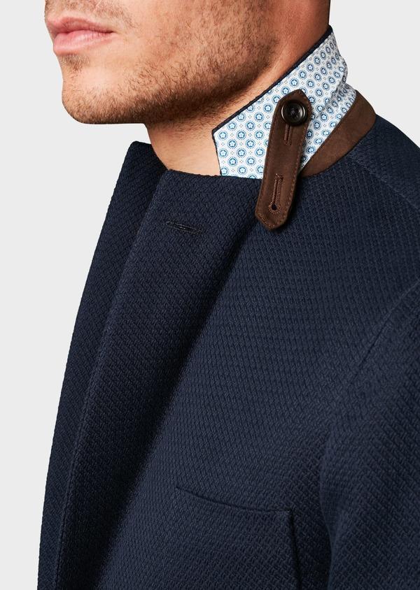 Veste casual Regular en coton façonné bleu marine - Father and Sons 7242