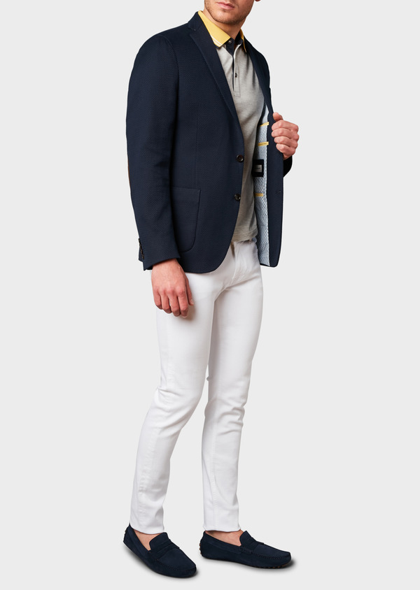 Veste casual Regular en coton façonné bleu marine - Father and Sons 7240