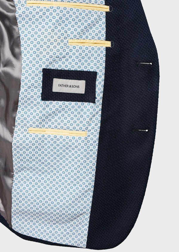 Veste casual Regular en coton façonné bleu marine - Father and Sons 7244