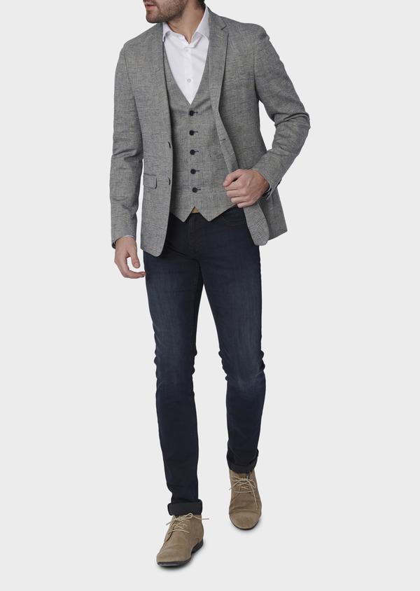 Veste coordonnable Slim en coton façonné bleu Prince de Galles - Father and Sons 8251
