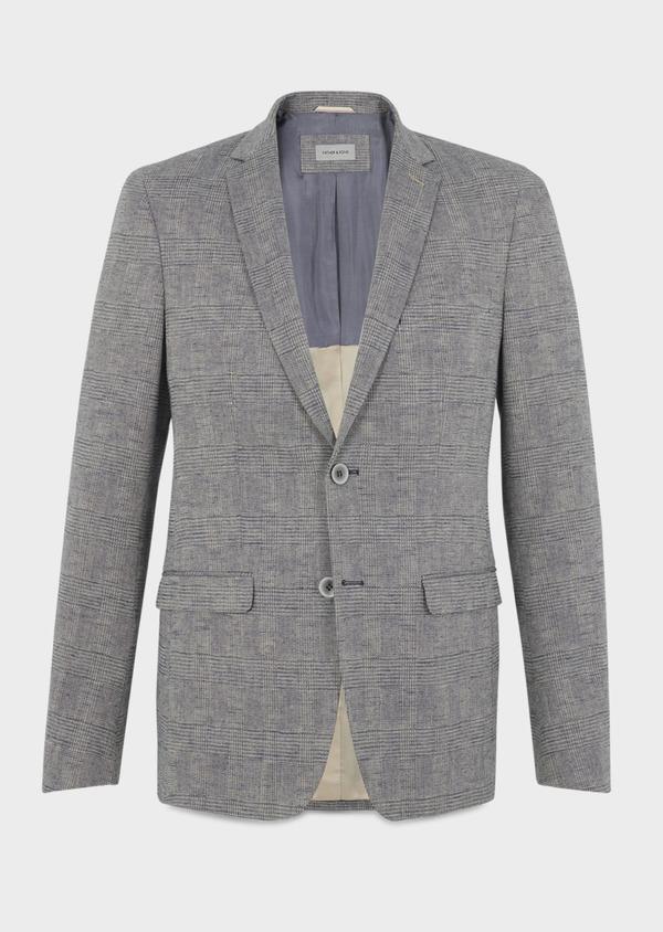 Veste coordonnable Slim en coton façonné bleu Prince de Galles - Father and Sons 8249