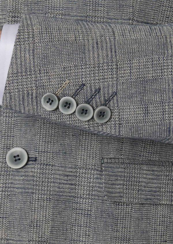 Veste coordonnable Slim en coton façonné bleu Prince de Galles - Father and Sons 8253