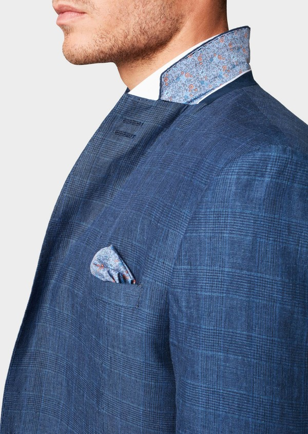 Veste coordonnable Slim en coton bleu indigo Prince de Galles - Father and Sons 7272