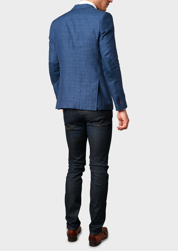 Veste coordonnable Slim en coton bleu indigo Prince de Galles - Father and Sons 7271