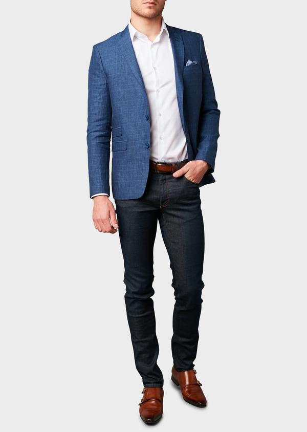 Veste coordonnable Slim en coton bleu indigo Prince de Galles - Father and Sons 7270
