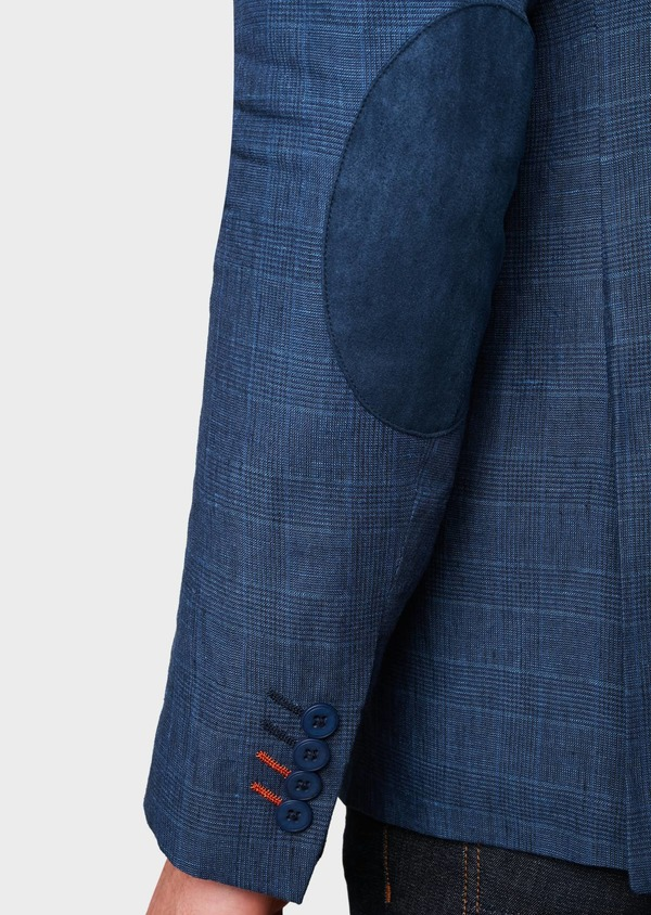Veste coordonnable Slim en coton bleu indigo Prince de Galles - Father and Sons 7273