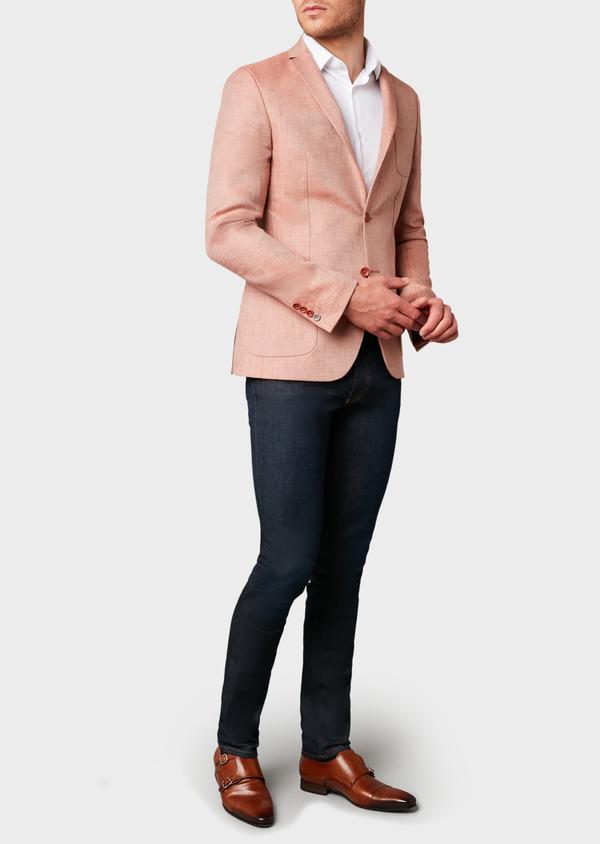 Veste casual Slim en coton façonné orange - Father and Sons 7260
