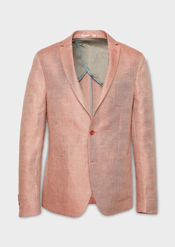 Veste casual Slim en coton façonné orange - Father and Sons 7258