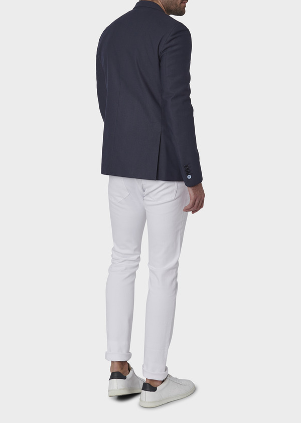 Veste casual Slim en coton façonné bleu indigo - Father and Sons 7281
