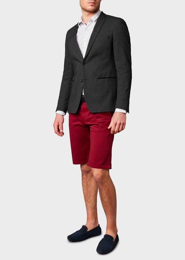 Veste casual Slim en coton façonné noir - Father and Sons 8241