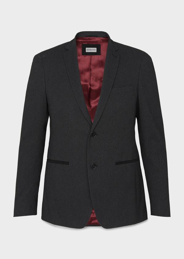 Veste casual Slim en coton façonné noir - Father and Sons 8239