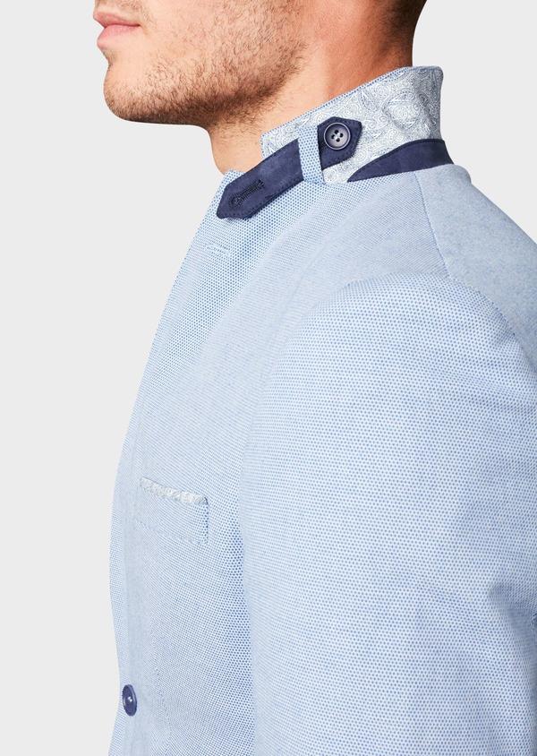 Veste casual Slim en coton façonné uni bleu - Father and Sons 8270