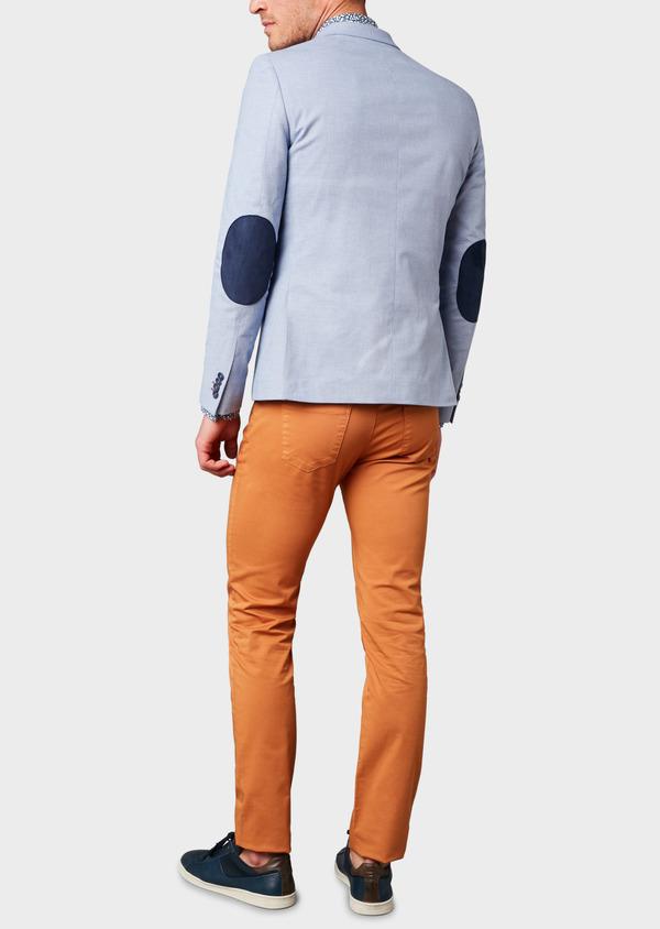 Veste casual Slim en coton façonné uni bleu - Father and Sons 8269