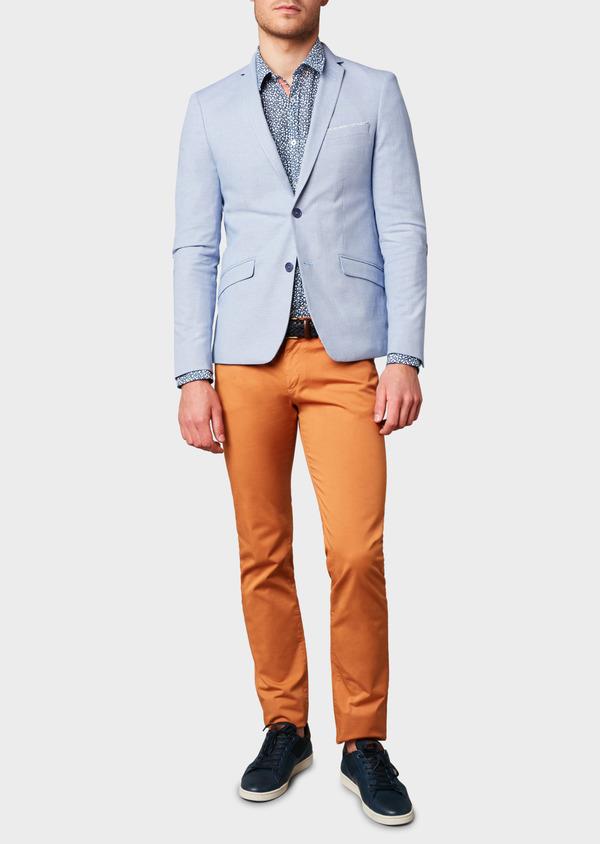 Veste casual Slim en coton façonné uni bleu - Father and Sons 8268