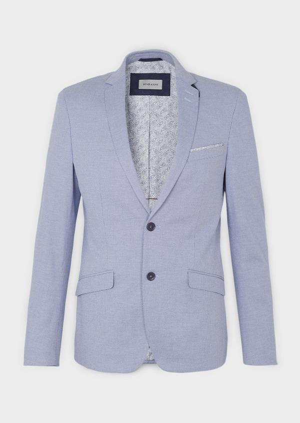 Veste casual Slim en coton façonné uni bleu - Father and Sons 8266