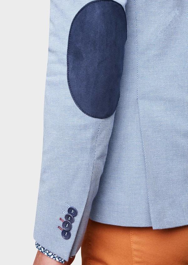 Veste casual Slim en coton façonné uni bleu - Father and Sons 8271