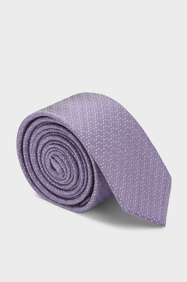 Cravate fine en soie violette à pois blancs
