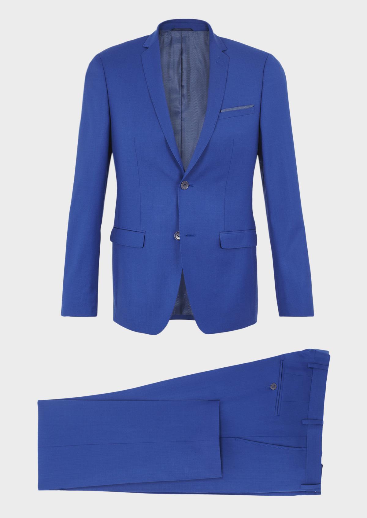Costume 2 Pièces Slim En Laine Unie Bleu Roi