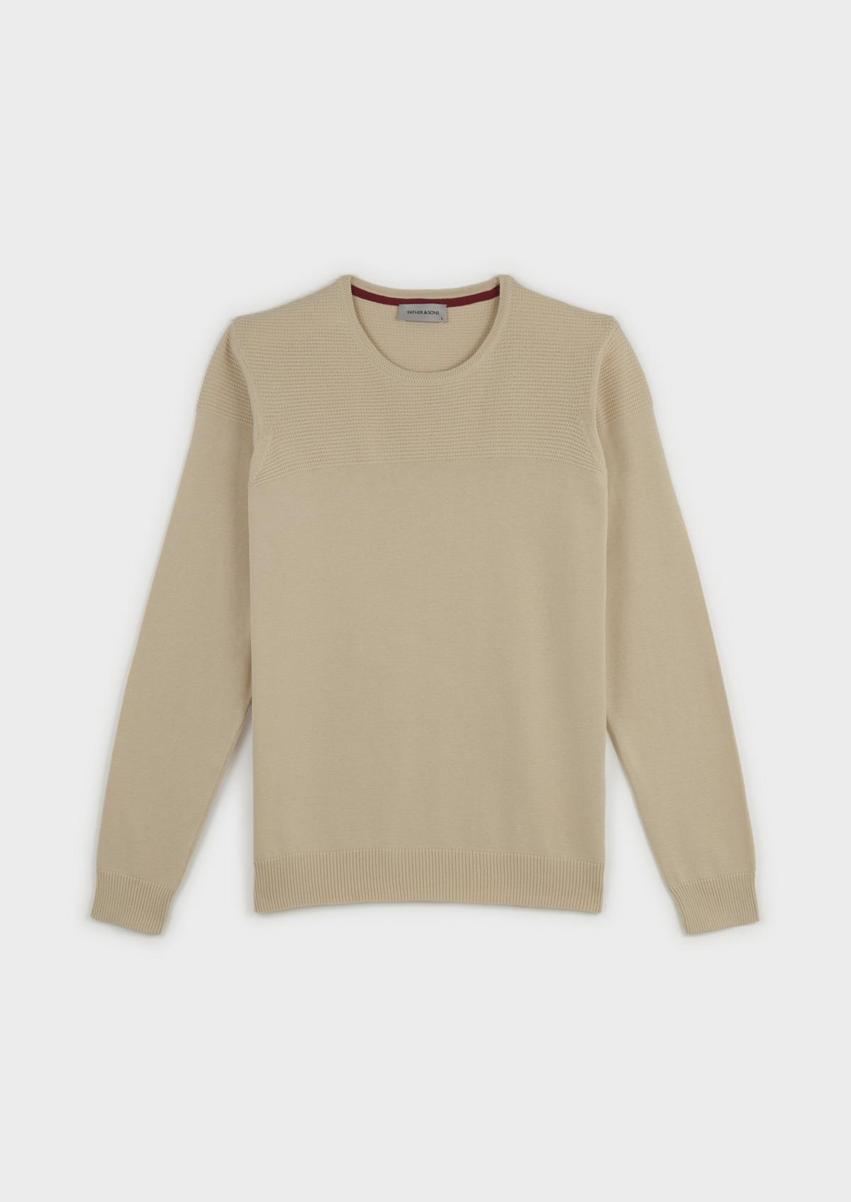 Pull en coton col rond beige
