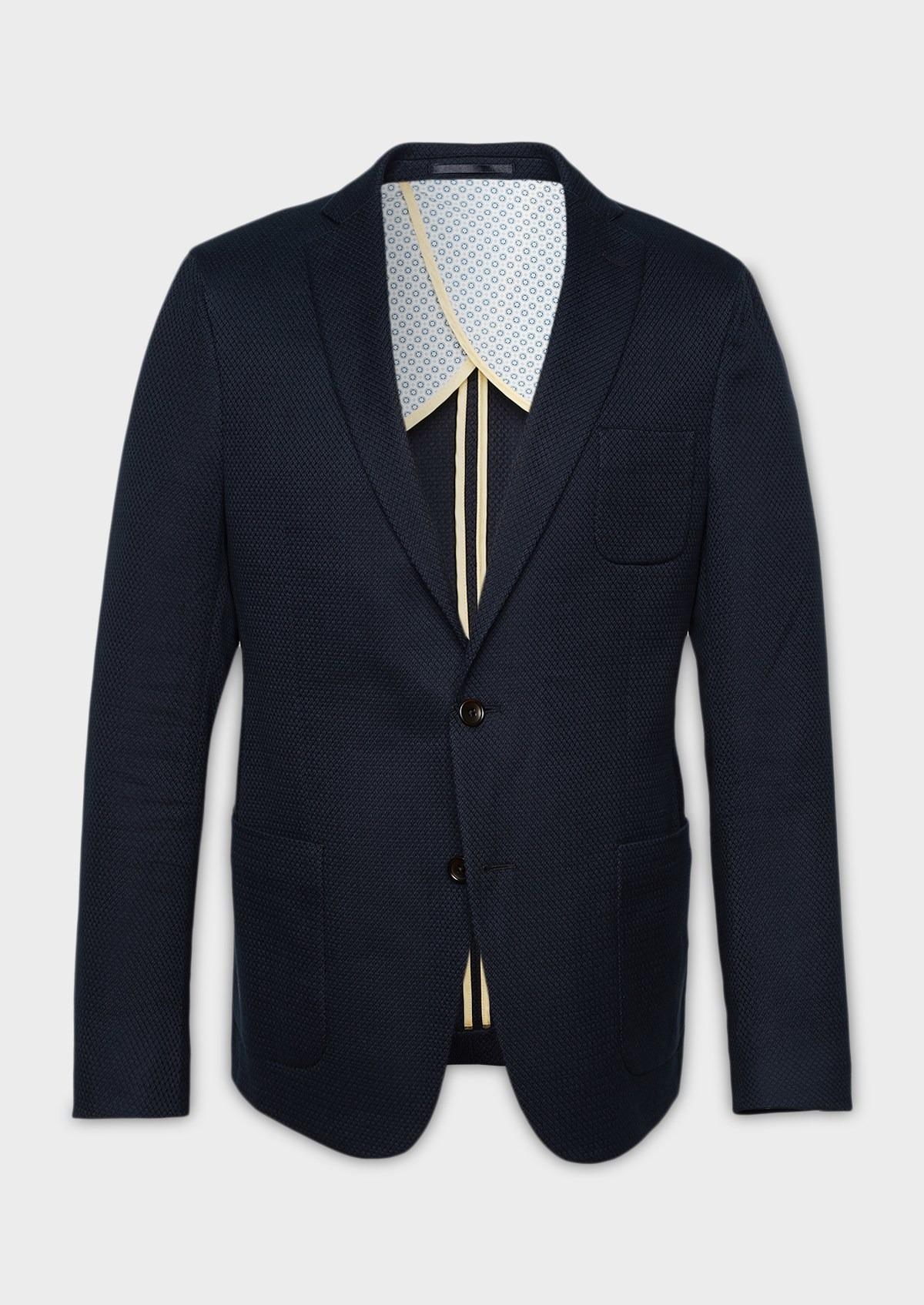 Regular Veste Bleu Marine Casual Coton En Façonné N8wm0Ovn
