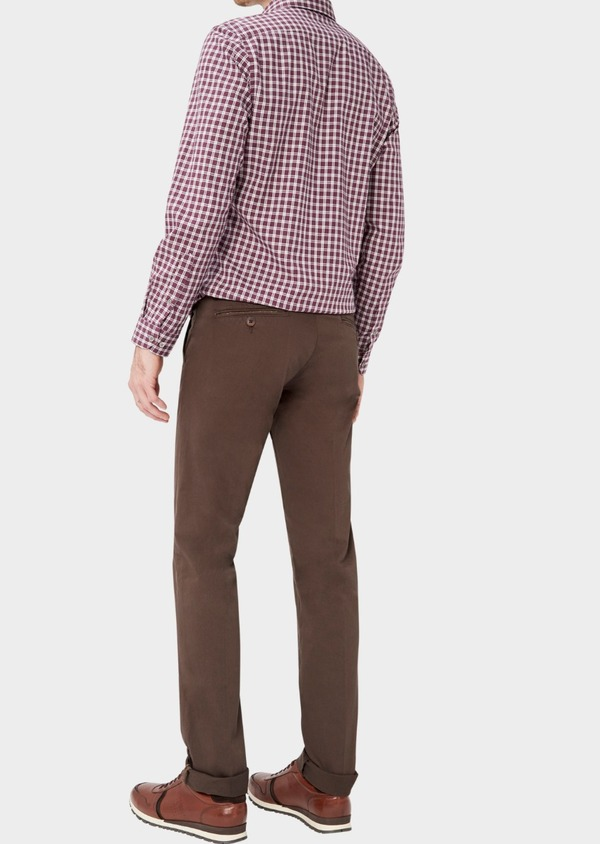 Chino slack skinny en coton stretch uni marron foncé - Father and Sons 37348