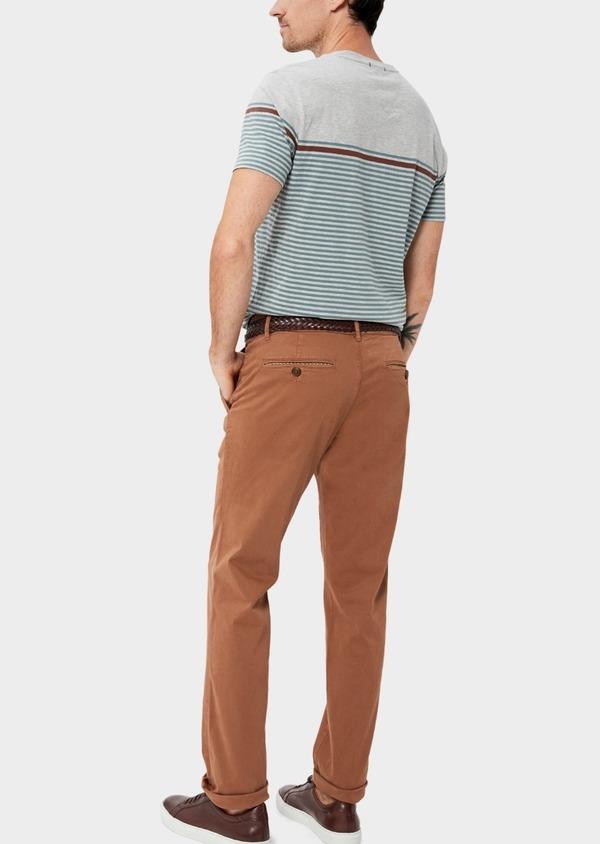 Chino slack skinny en coton stretch uni cognac - Father and Sons 34576