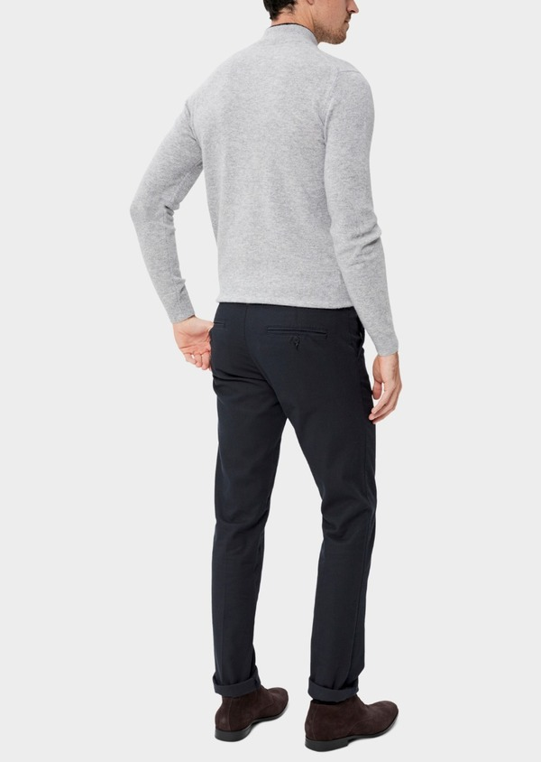 Chino slack skinny en coton façonné stretch uni bleu marine - Father and Sons 34577