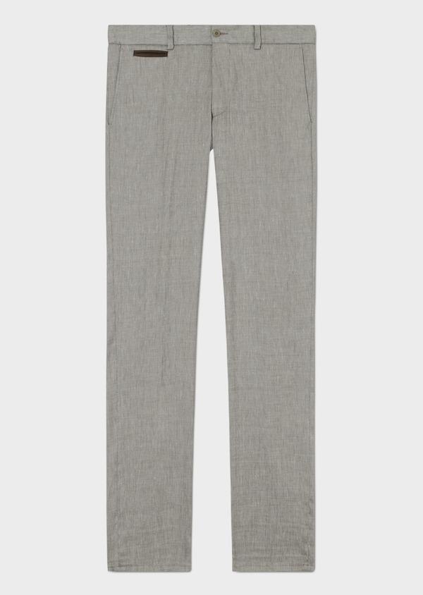 Pantalon coordonnable slim en lin mélangé uni vert kaki - Father and Sons 34193