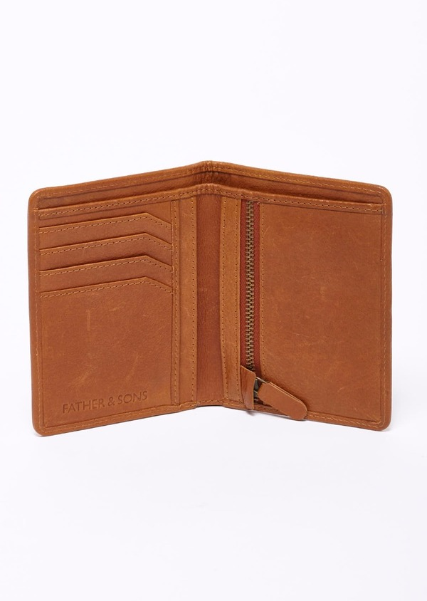 Porte-feuille en cuir camel - Father and Sons 9216
