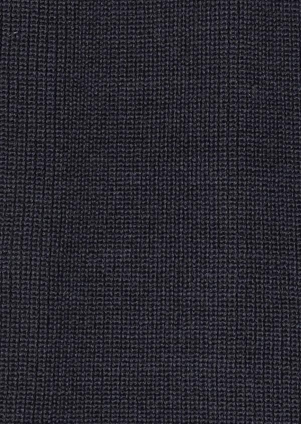 Pull en laine Mérinos col montant zippé uni bleu indigo - Father and Sons 28233