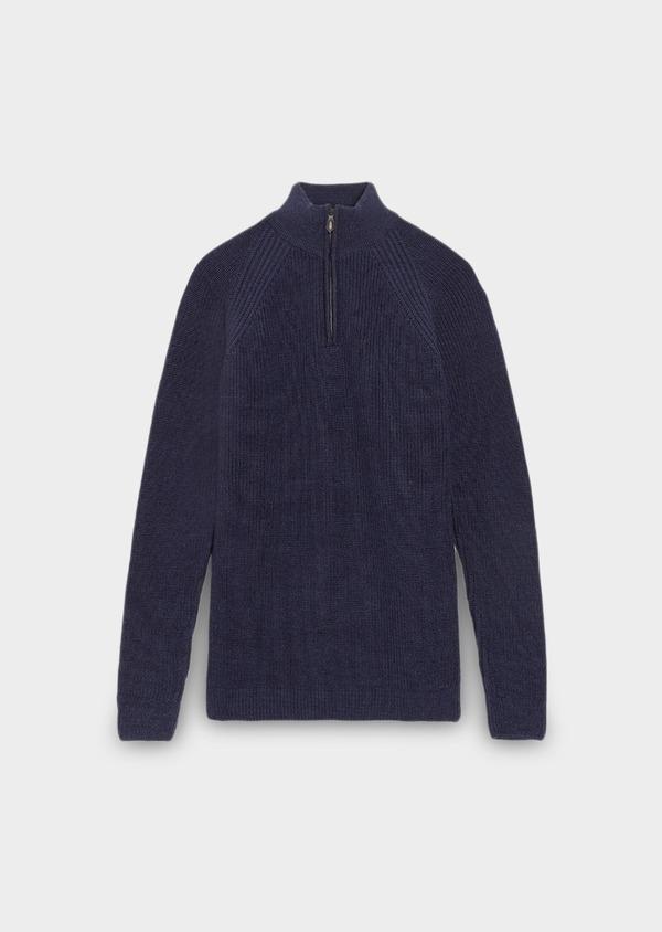 Pull en laine Mérinos col montant zippé uni bleu indigo - Father and Sons 28232