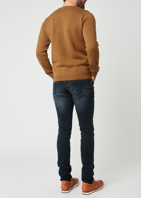 Pull en coton mélangé col rond uni camel - Father and Sons 28240