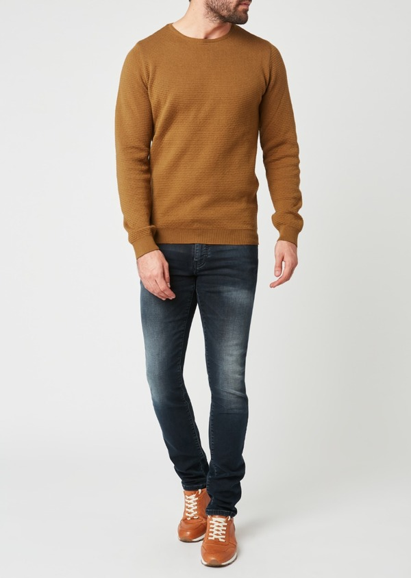 Pull en coton mélangé col rond uni camel - Father and Sons 28239