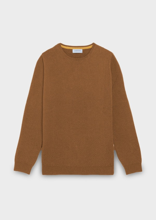 Pull en coton mélangé col rond uni camel - Father and Sons 28237