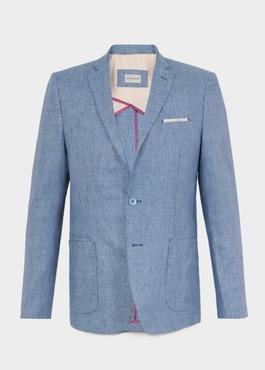 Veste coordonnable Regular en lin bleu 1 - Father And Sons