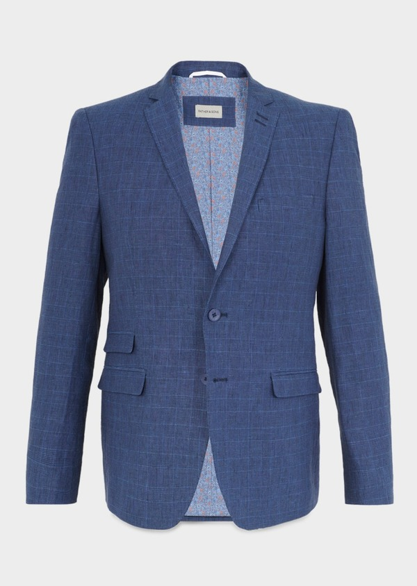 Veste coordonnable Slim en coton bleu indigo Prince de Galles - Father and Sons 8866