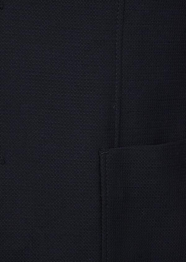 Blazer voyage Regular en laine mélangée unie bleu marine à parementure amovible - Father and Sons 42519