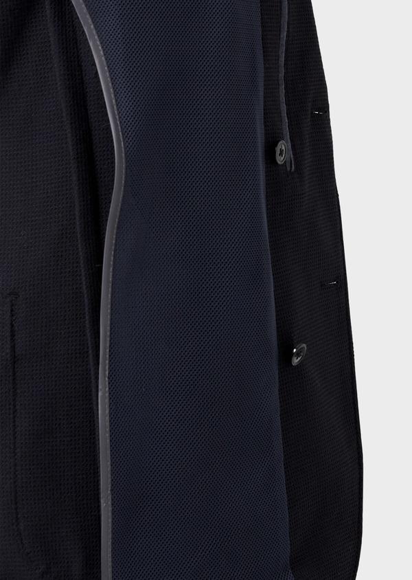 Blazer voyage Regular en laine mélangée unie bleu marine à parementure amovible - Father and Sons 42518