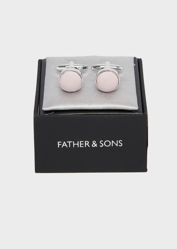 Boutons de manchettes ronds en soie rose - Father and Sons 37380