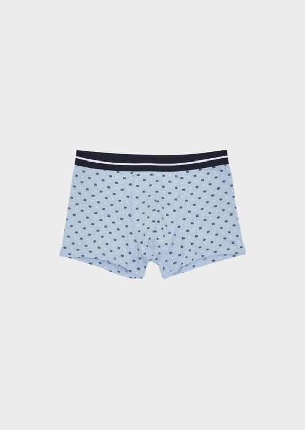 Boxer en coton stretch bleu clair à motif fantaisie - Father and Sons 40562