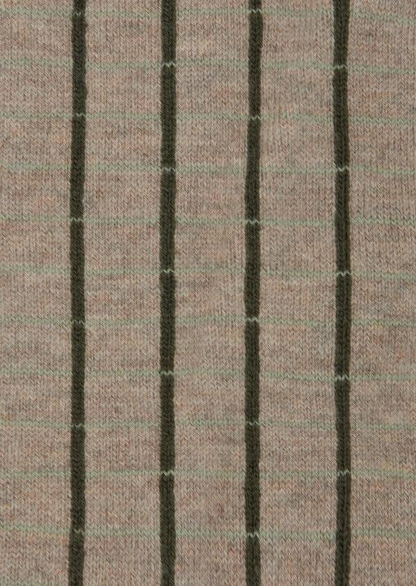 Chaussettes en coton mélangé beige à carreaux vert kaki - Father and Sons 42539