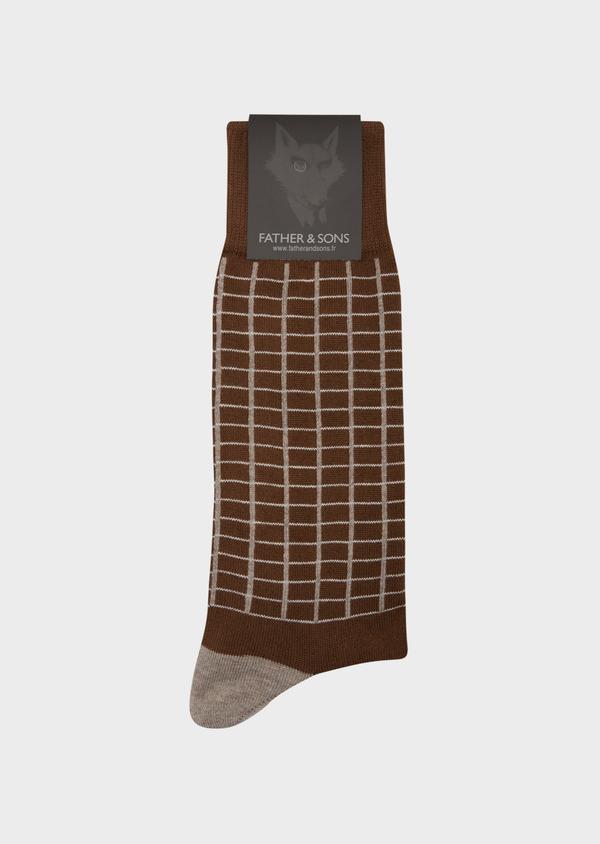 Chaussettes en coton mélangé cognac à carreaux taupe et gris - Father and Sons 42544