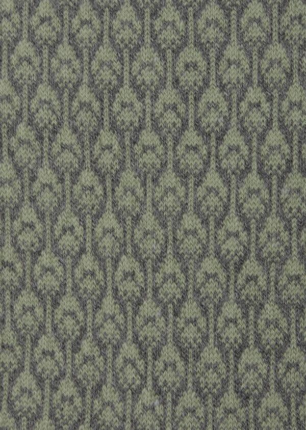 Chaussettes en coton mélangé gris à motif plume de paon vert kaki - Father and Sons 42537