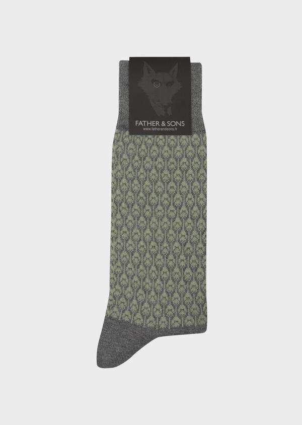 Chaussettes en coton mélangé gris à motif plume de paon vert kaki - Father and Sons 42536