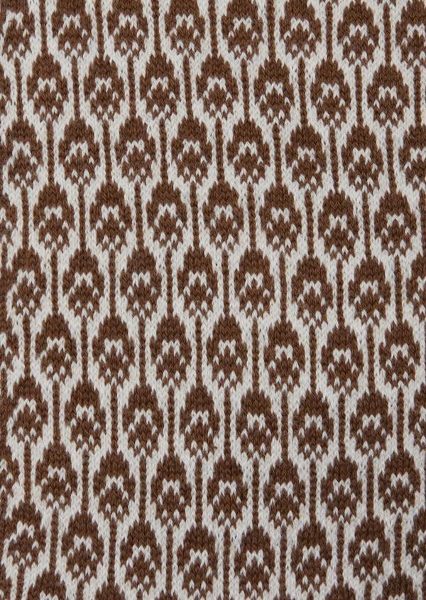 Chaussettes en coton mélangé gris à motif plume de paon cognac - Father and Sons 42543