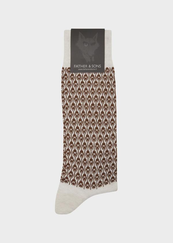 Chaussettes en coton mélangé gris à motif plume de paon cognac - Father and Sons 42542