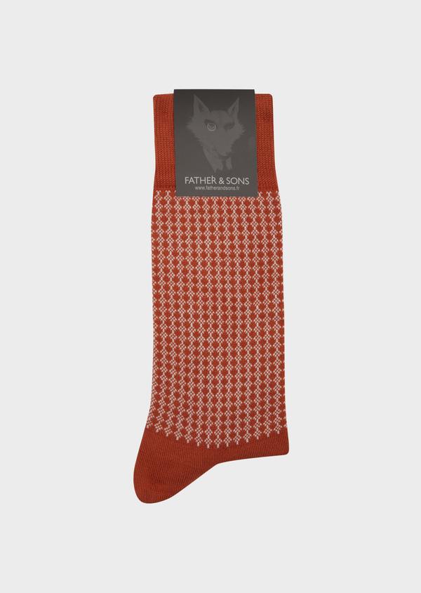 Chaussettes en coton mélangé marron à motifs géométriques gris - Father and Sons 42540
